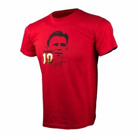 Puskás póló felnőtt PUSKÁS10 piros